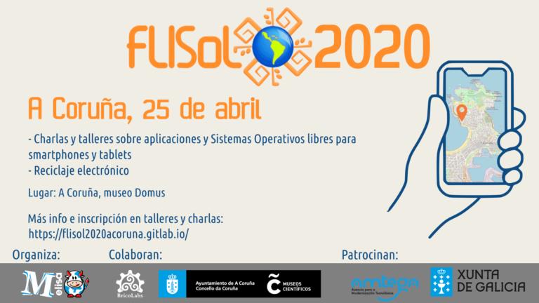 Cartel flisol 2020 A Coruña